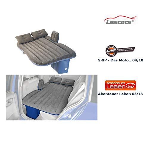 Lescars Automatratze: Aufblasbares Bett für den Auto-Rücksitz, mit Kissen und Fußraum-Stütze (Autoluftbett)