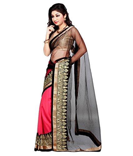 Om Designer Black Net pallu Half half Saree with Blouse material