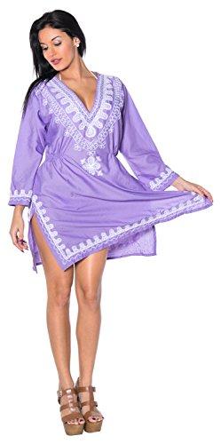 La Leela Damen Rayon Hals alle in 1 Wohn- beiläufiges Kleid Badeanzug Kimono Tunika tief Hals Bademoden Plus szie maxi kurz Kaftan Maxi Strand-Party Pool-Bikini-Vertuschung gestickt Orchidee Violett