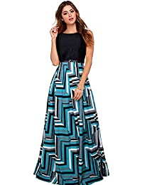 Aarna Fashion New Party Wear Stylish Designer Printed Western Gown/Dresses With Belt