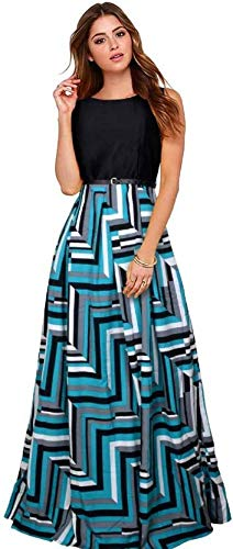 Aarna Fashion Women\'s Crepe Printed Western Gown with Belt (skyskirt, Turquoise, Free Size)