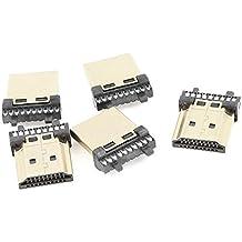 5 piezas de alambre para soldar tono de oro carcasa macho tipo 19Pins conectores HDMI