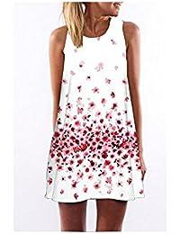 Yiyada Mujeres Túnica casual sin mangas de la impresión floral de la  vendimia atractiva mini A - alinee los vestidos de… 0587b4e91b5