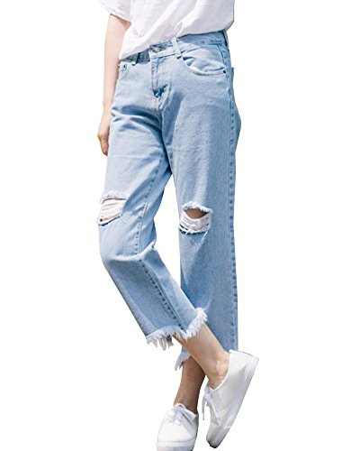 SaiDeng Donne Stile Fidanzato Buco A Vita Alta Pantaloni Gamba Larga Denim (Pantaloni)