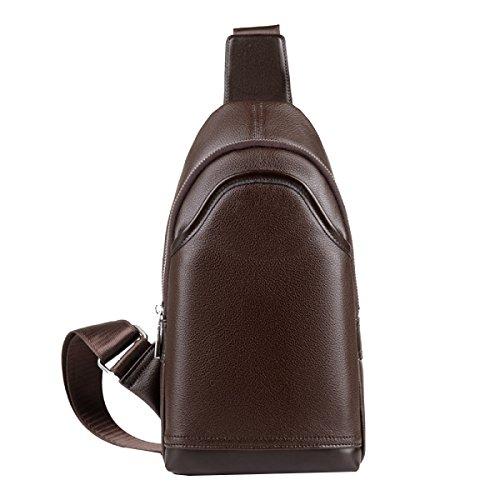 Yy.f Neue Herrentasche Herren-Brusttasche Umhängetasche Modegeschäft Autonahtart Gezeiten Außentasche Feste Packung Farbe 2 Brown