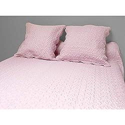 Soleil d'ocre 373004 Couvre-Lit Boutis Avec 2 Taies d'Oreiller Polyester Rose 240 x 220 cm