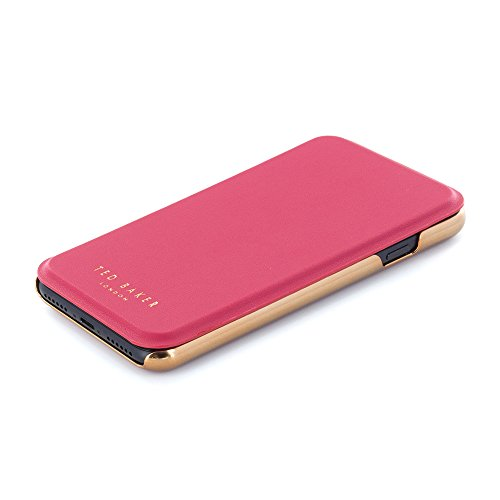 iPhone 7 Case, Official Ted Baker® SS16 Folio Style Case for Apple iPhone 7 - Fashion Branded Mirror Case for Professional Women - SHANNON - Rose Gold/Rose Gold fuchsia / rose gold