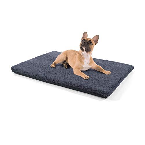 brunolie Nala mittlere Hundedecke in Dunkelgrau, Rutschfeste Hundematte mit Reißverschluss, für Hunde und Katzen geeignet, Größe M (100 x 70 x 5 cm)