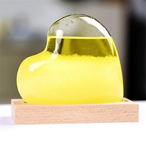 JHion Sturmglas Wettervorhersage Flasche Crystal Love Herz Barometer Handwerk Holz Boden Home Office Desktop Dekoration Geburtstag gelb -