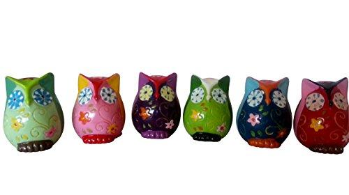 Eulen Dekoeule Eule 6'er Set bunt Figuren Keramik OWL Dekoration 6 Stk Höhe 5cm -