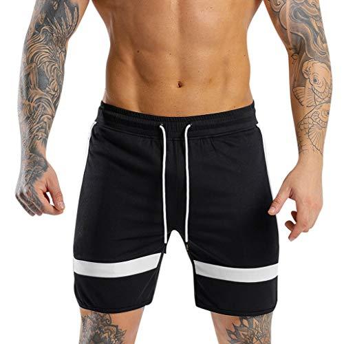 Liusdh Kurzer Schlauch für Herren Shorts Sport Laufen Hip Hop Hosen Casual Sports Cropped Pant(Black,M) -