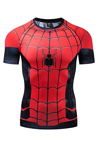 RedJade Herren Damen Anime Cosplay Kostüm Spider-Man: Far from Home Peter Parker Kurzarm T-Shirt