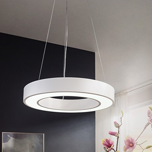 plafonnier LED ronde métal blanc CERCLE mat EEK A + plafonnier de bureau 48 Watt Ø 60 cm | Le travail de conception lampe suspendue 4080 lumens blanc froid sans écran | lampe pendentif bureau IP20