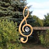 Fenster Deko zum Aufhängen | Violinschlüssel aus Holz | Regenbogenkristall | Fensterschmuck | Violinschlüssel Fensterdeko | Geschenkidee