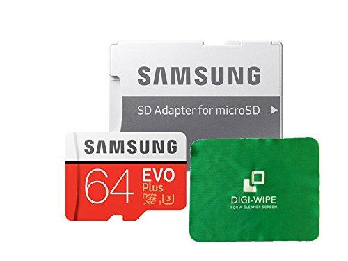 64 GO Digi Wipe Carte mémoire Micro-SD Evo Plus 64GB pour téléphones Samsung Galaxy A3, A5, A6, A6, A7, A8, A8s, A9, Tous 2016, 2017, 2018 Versions - Comprend Un Chiffon de Nettoyage en Microfibre