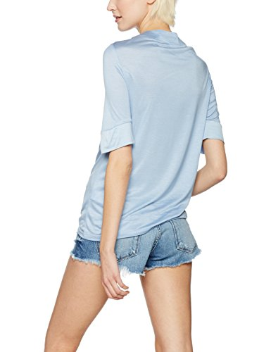 FIND T-shirt Fluide Col V Lacé Femme Bleu (Chambray)
