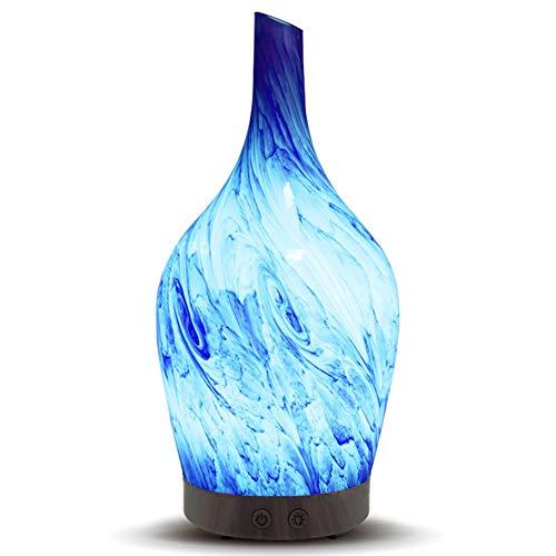 Aroma Diffuser 100ml Ultraschall Aromatherapie Luftbefeuchter Oil Düfte Luftreiniger Glasmalerei 7 Farben LED Duftlampe Wasserlose Power-off Flüstere Leise JIAYUE-11, Painted Ceramic