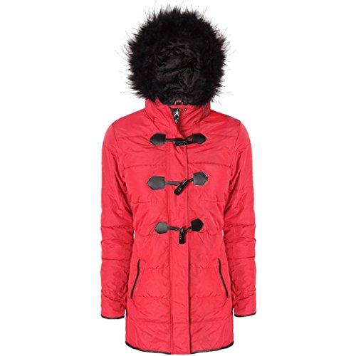Femmes en Fourrure à Capuchon Parka Parker Plus Taille Coat Veste Tailles 34-48 Rouge