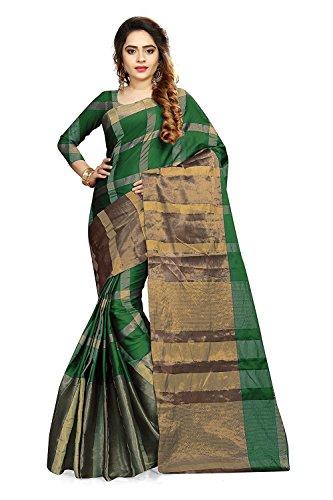 Ruchika Fashion Women's Cotton Silk Saree with Blouse Piece (Green_Free Size)