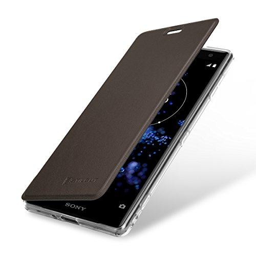 StilGut Berlin Book Type Case, Hülle aus Leder und durchsichtiges TPU für Sony Xperia XZ2. Seitlich klappbares Flip-Case mit NFC/RFID Blocker. Braun/transparent