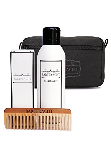 Bartpracht Deluxe Pflege-Set, inkl. Bartöl, Bartseife & Kamm mit Kulturbeutel, Rund-um-Pflege für den Bart, perfektes Männer-Geschenkset, Made in Germany