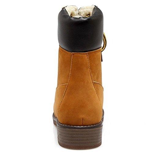 TAOFFEN Stivali Inverno Donna Stringate Yellow-Brown