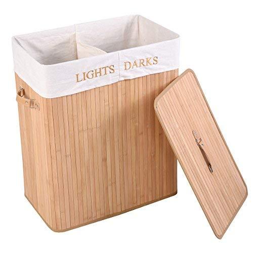 FDS COSTWAY Wäschebox Wäschekorb Wäschetruhe Wäschesammler Wäschetonne Bambus mit Wäschesack 105L Faltbar (Natur)