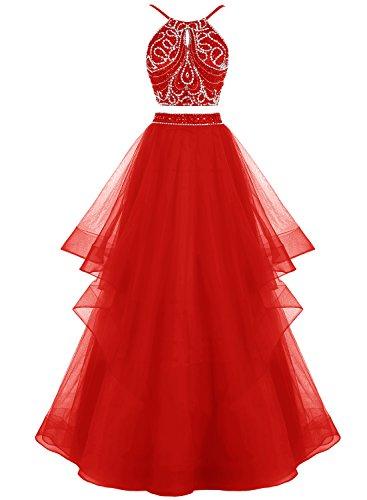 Bbonlinedress Robe de cérémonie Robe de bal asymétrique deux pièces longueur ras du sol Rouge
