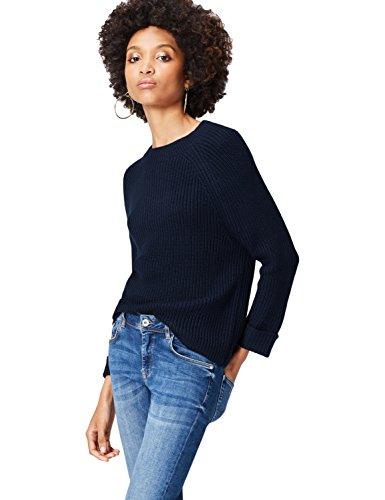 FIND Funnel Neck Suéter para Mujer, Azul (Navy), 36 (Talla del Fabricante: X-Small)