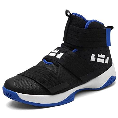 Unisex Paar Schuhe Basketball Schuhe Mesh Leichte Laufschuhe Im Freien Breathable Sportschuhe High-Top Velcro Sneakers,Blacksapphireblue,37