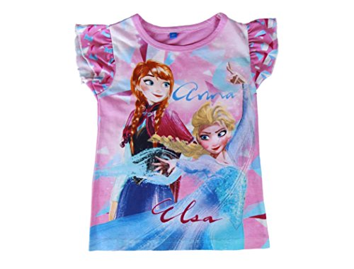 Media wave store t-shirt bambina frozen elsa e anna 2200001949 in cotone taglia da 3 a 7 anni (7 anni)