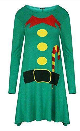 Friendz Trendz-Ladies ELF Père Noël Imprimer Noël swing Robe patineuse ELF GREEN