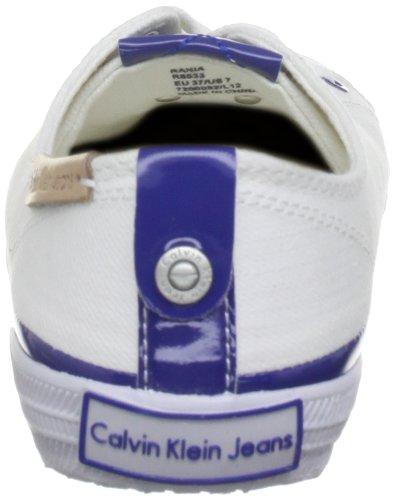 Calvin Klein Jeans RANIA CANVAS PATENT R8533 Damen Schnürhalbschuhe Blanc (Ohb)