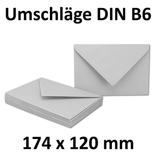 50x DIN B6 Briefumschläge // Hellgrau // 174 x 119 mm // 110 g/m² // Nassklebung - Qualitätsmarke: GUSTAV NEUSER
