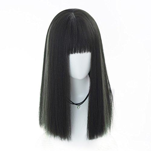 Chang Xiang Ya Shop Perruque féminine mi-Longue Moelleuse Perruque Droite réaliste Noire Perruque Naturelle de Mode Perruque complète