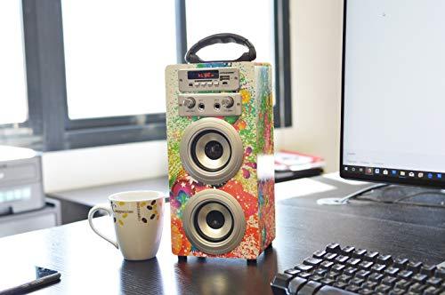 DYNASONIC Mod025 Sistemi di altoparlante Bluetooth – Karaoke di motivo con microfono (Modello 1)