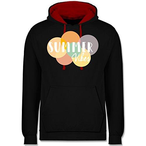 Statement Shirts - Summer Vibes - Kontrast Hoodie Schwarz/Rot