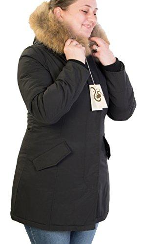 Giubotto parka donna con pelliccia vera volpe removibile antony morale 2 colori disponibili copia wool artik parka (m 44, nero)