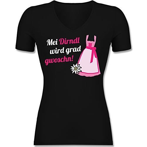 Oktoberfest – Mei Dirndl wird grad gwoschn - T-Shirt für Frauen tailliert mit V-Ausschnitt (XL, (T Shirt Trachten)