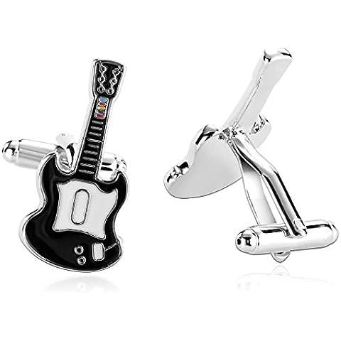Daesar 2 Piezas Gemelos Hombre Rodio Plateado Blanco Negro Strumentos Series Guitarra Electrica