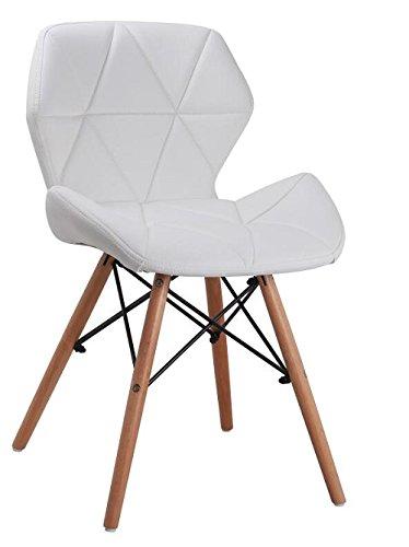 all4all Design Stuhl Esszimmerstuhl Bürostuhl Stuhl Esszimmer Esstisch Stühle Stuhl Kunstleder Gepolsterter Essgruppe Moderne Essplatz Essgruppe Emma 10 (Weiß)