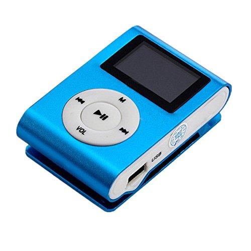 Amlaiworld Mini MP3-Player LCD-Bildschirm Unterstützung 32 GB Micro SD TF-Karte sport lässig USB Musik player Urlaub Freizeit Mode Fitness Elektronisch geräte mit Clip Tragbare Legierung Lautsprecher (Blau)