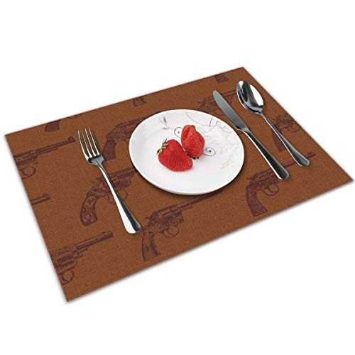 Funny&shirt Western Revolvers Placemats,Non Slip Washable Placemats for Dining Table Wipe Clean Table Mats Set of 4 (Western Shirt 4x)