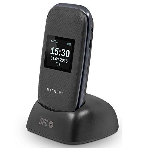 Spc Harmony 2304n - Telefono móvil para mayores teclas grandes con cámara de fotos y botón de aviso a emergencias, color negro