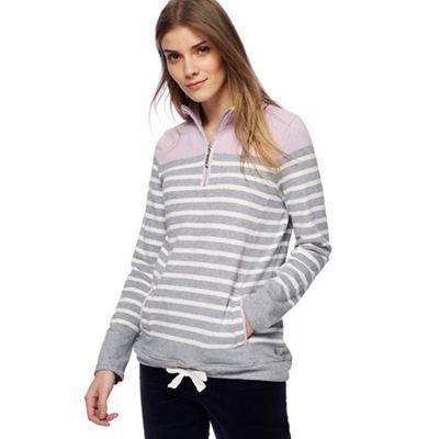 Debenhams Maine New England Womens Grey Striped Zip Neck Sweatshirt 8