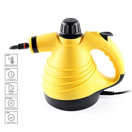 GUORZOM Hand Dampfreiniger Home Große Kapazität Druckdampfreiniger mit 9-Teiligen Zubehör Für Fleckenentfernung Teppiche Vorhänge Bett Bug Control Autositze, Gelb (Fleckenentfernung Stoff)
