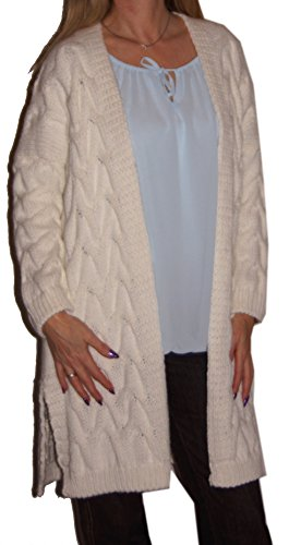 Long - Strickjacke (Zopf) Strickmantel, langarm, weiter gerader Schnitt, dicke Qualität, Zopfmuster, seitliche Taschen, creme (Zöpfe Strickjacke)