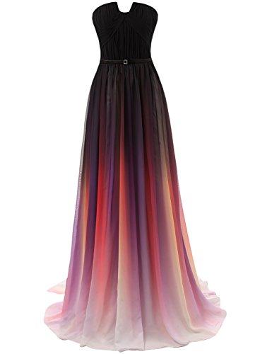 JAEDEN Langes Abendkleid Damen Ballkleid A Linie Chiffon Brautjungfernkleid Rot-3 EUR48