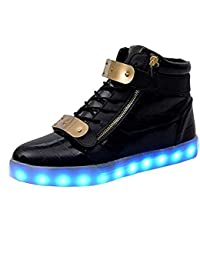Unisex USB Rechargeable Black High Top LED Metal Velcro Flashing Simulation Shoes Sneaker - Light Up Your Personality...