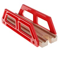 F Fityle Excellent Crafted Wooden Trains Track Building City Traffic Scene Model Building Accessories Kids Educational Toy - Small Red Bridge